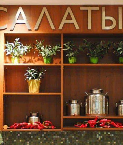 Торговое оборудование для кулинарии, пристенные стеллажи