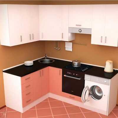 Красно-белая кухня с черной столешницей