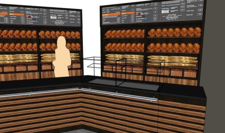 Разработка дизайн — концепции магазина — пекарни