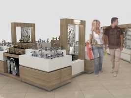 Торговая мебель в виде острова для смесителей и аксессуаров