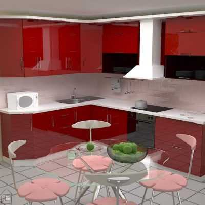 Кухня «Малиновый глянец МДФ»