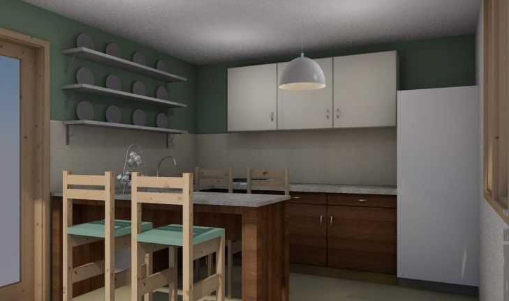 Разработан дизайн кухни с барной стойкой для дачи