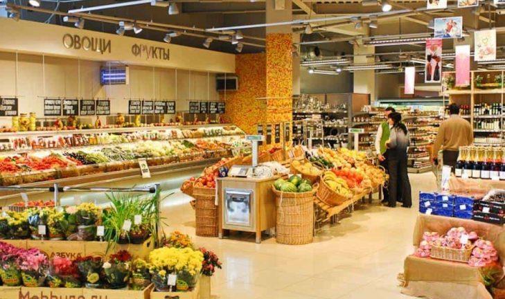 Какие основные функциональные зоны обычно выделяются в супермаркете?